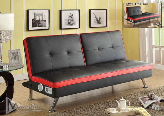 K-Klak sofa bed featuring speakers in black leatherette