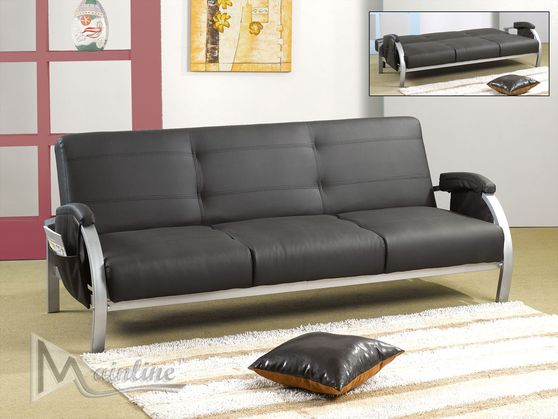 Black leatherette sofa bed w/ curved chrome legs