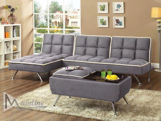 Contemporary gray microfiber sofa + chaise set