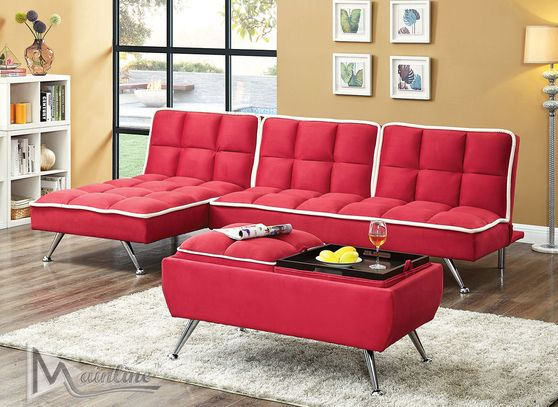 Contemporary red microfiber sofa + chaise set