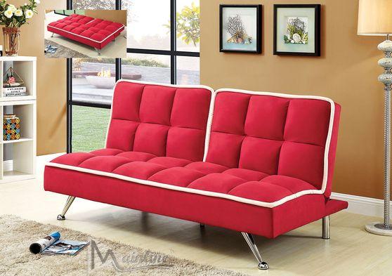 Contemporary red microfiber sleeper sofa