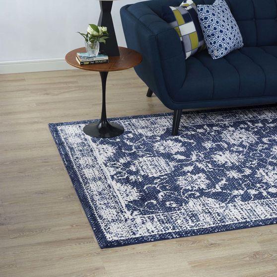 Distressed finish ivory/blue area rug 8x10