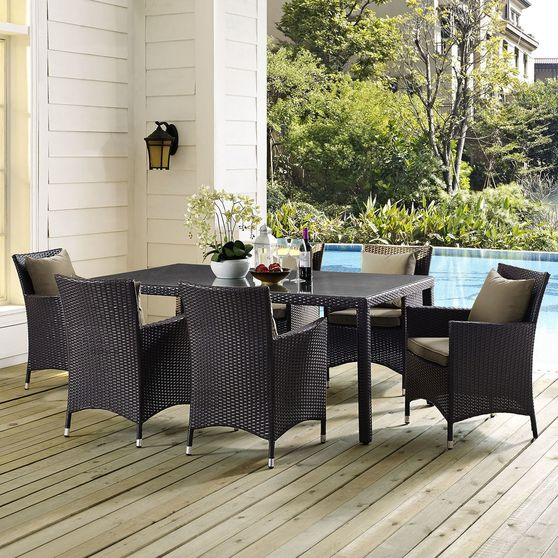 7pcs contemporary outdoor dining table + chairs set