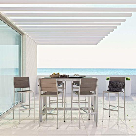Silver gray aluminum outdoor patio 7pcs set