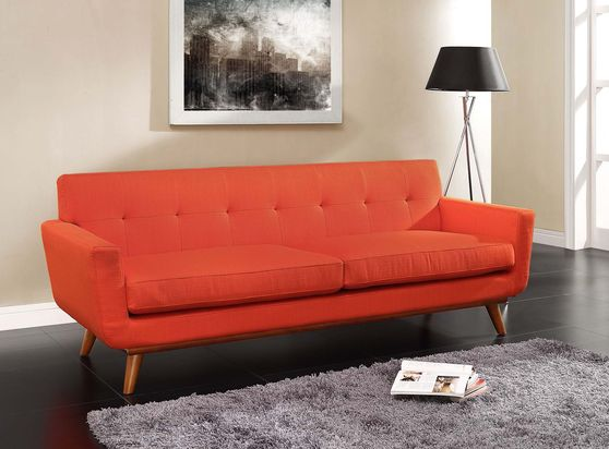 Red fabric tufted back contemporary couch