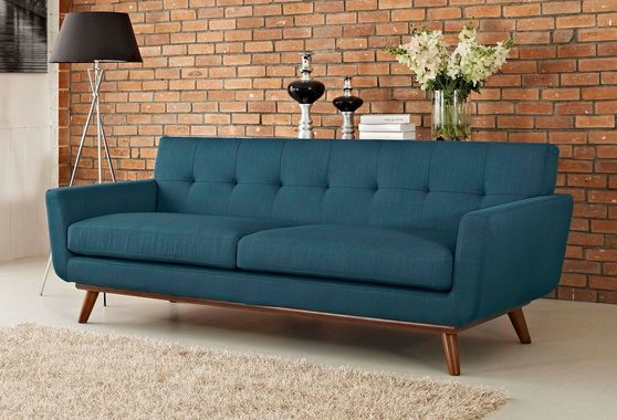Azure teal fabric tufted back contemporary couch
