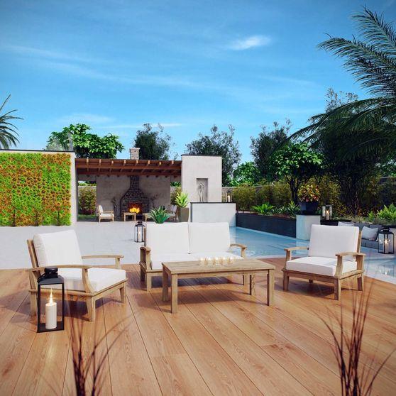 4pcs outside patio seating set in natural teak