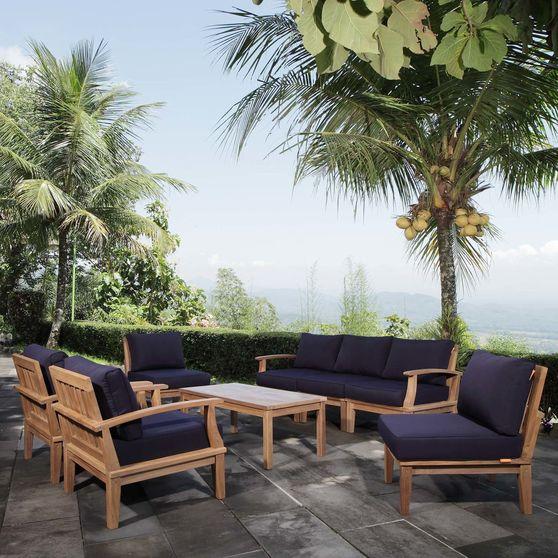 8-piece outodoor patio set in natural teak wood