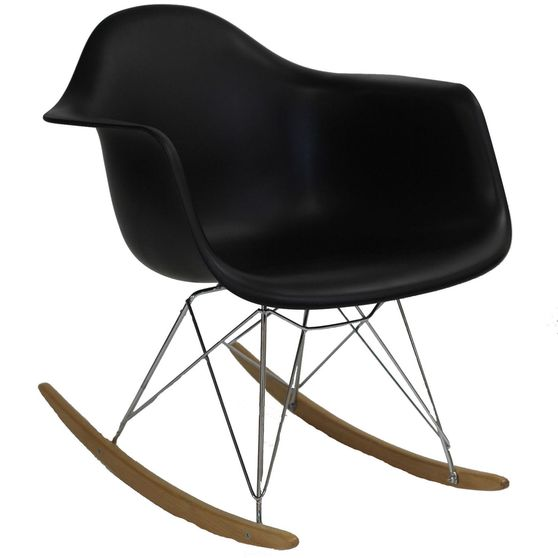 Molded black plastic rocking lounge chair