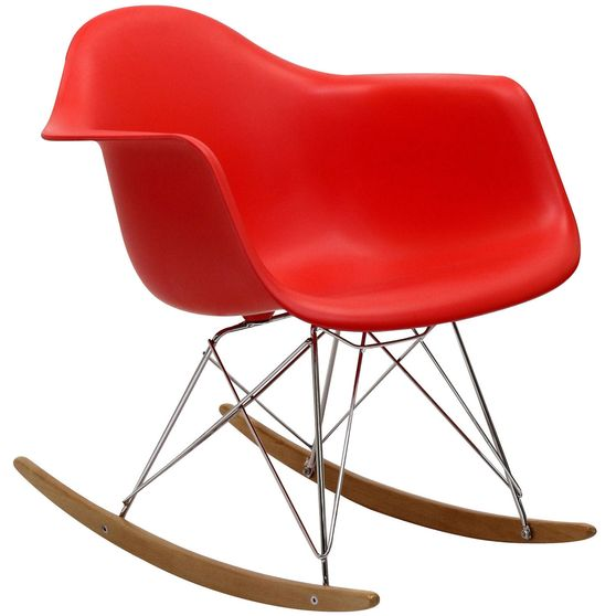 Molded red plastic rocking lounge chair