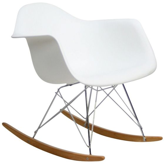 Molded white plastic rocking lounge chair