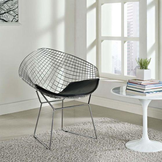 Diamond wire metallic lounge style chair