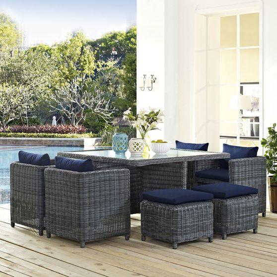 9 piece outdoor / patio rattan dining set