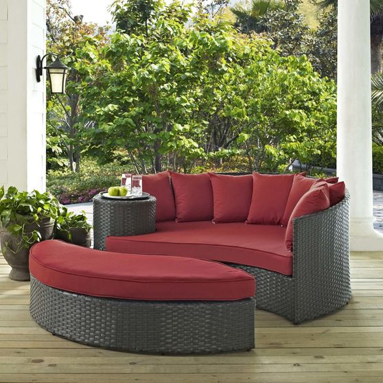 Patio/outdoor daybed + ottoman oval set