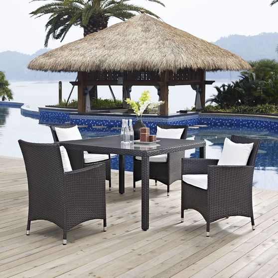 5pcs square outside/patio table + chairs set