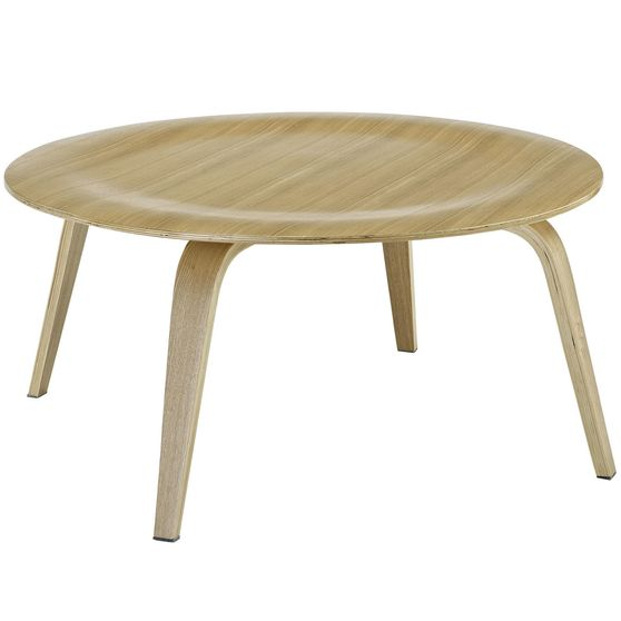 Classic natural wood round top coffee table