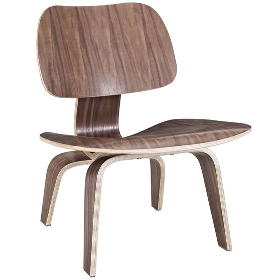 Plywood lounge casual style chair in walnut