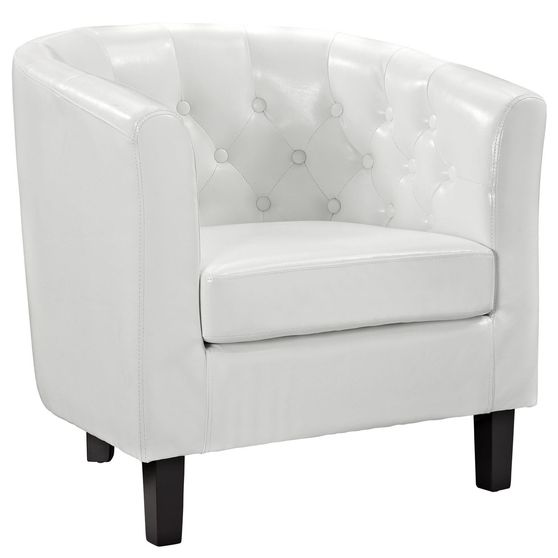 Button club style tufted back white leather chair