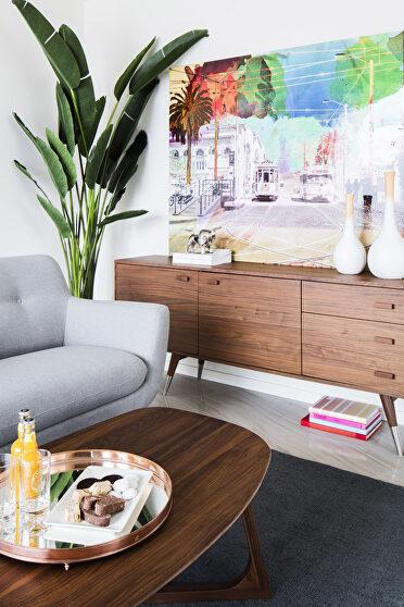 Mid-century modern sideboard walnut large
