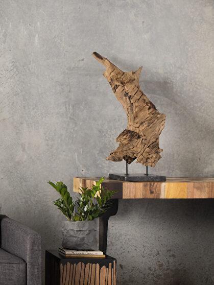 Industrial teak wood sculpture on black marble stand medium