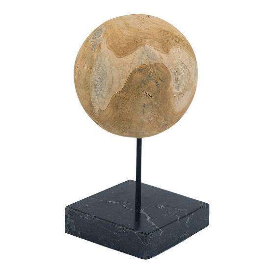 Industrial teak ball on black marble base medium