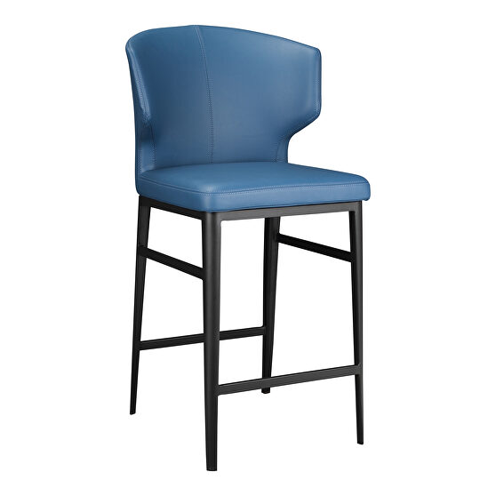 Contemporary counter stool steel blue