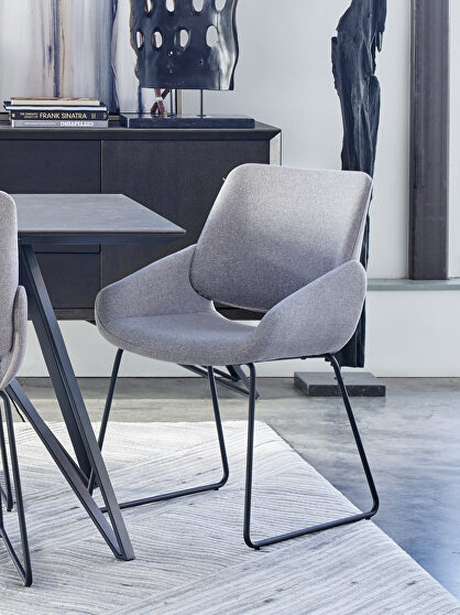 Contemporary dining chair light gray