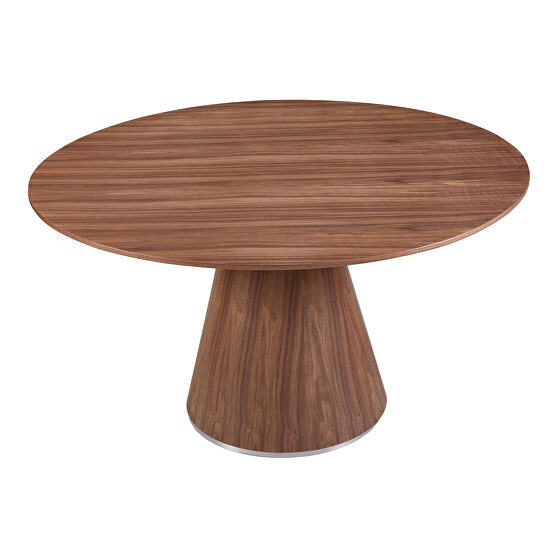 Contemporary dining table 54in round walnut