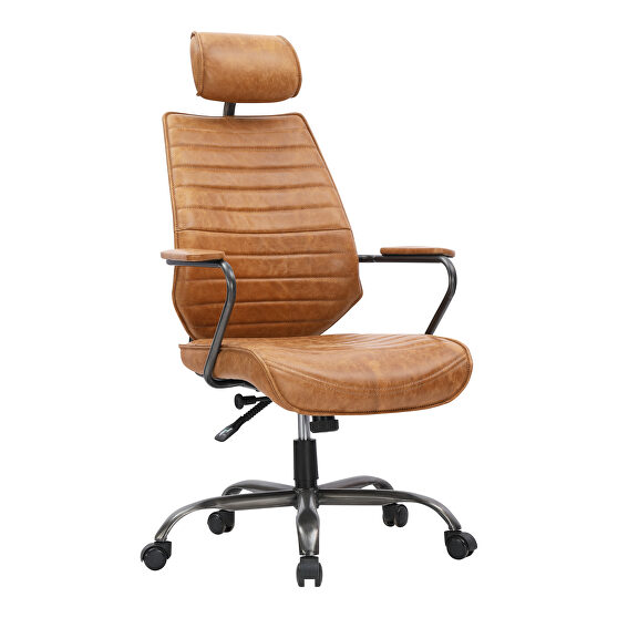 Industrial swivel office chair cognac