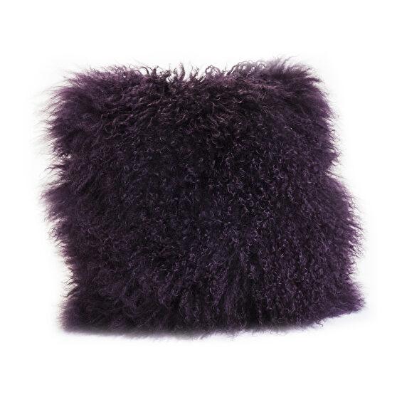 Contemporary fur pillow purple