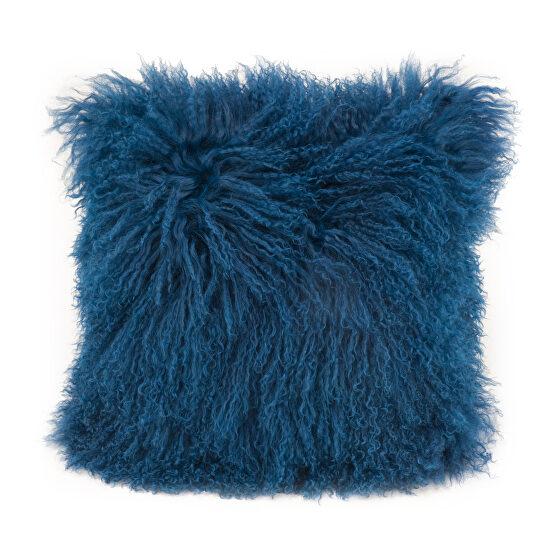 Contemporary fur pillow blue