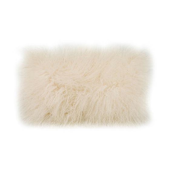 Contemporary fur pillow rect. cream