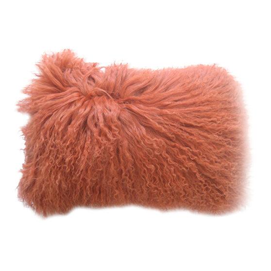 Contemporary fur pillow rect. orange