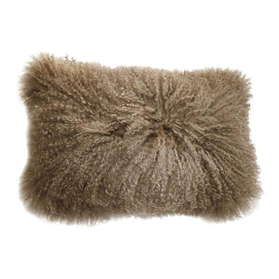 Contemporary fur pillow rect. natural