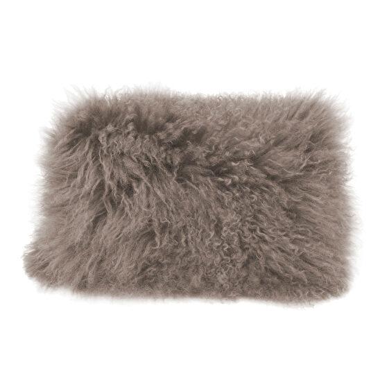 Contemporary fur pillow rect. gray