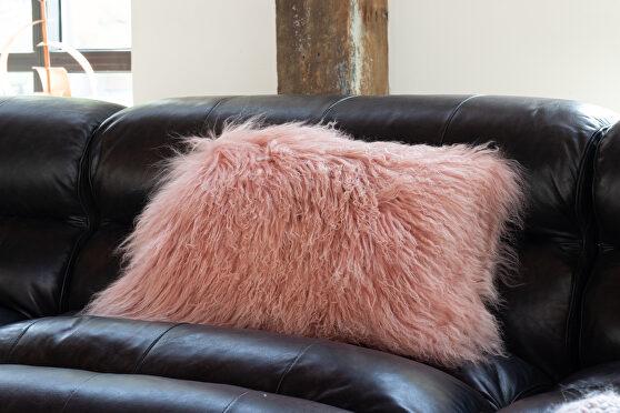 Contemporary fur pillow rect. pink