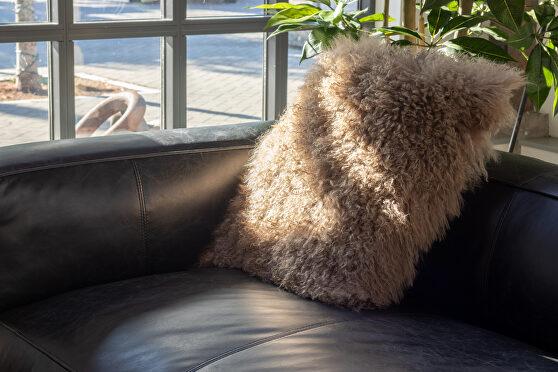 Contemporary fur pillow large natural