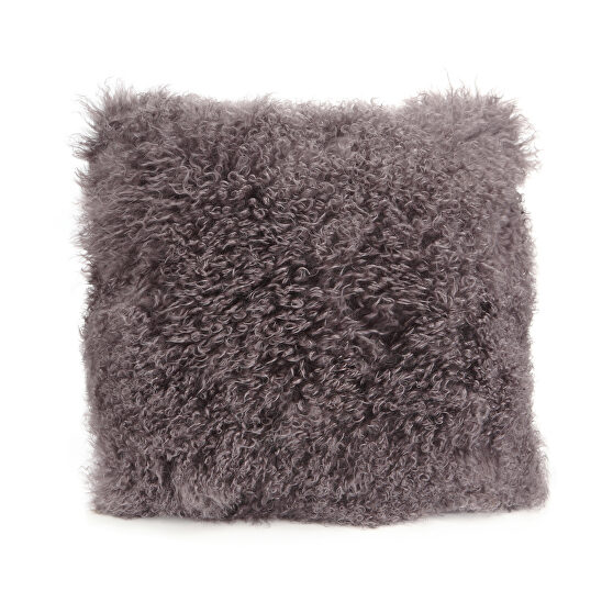 Contemporary fur pillow large gray
