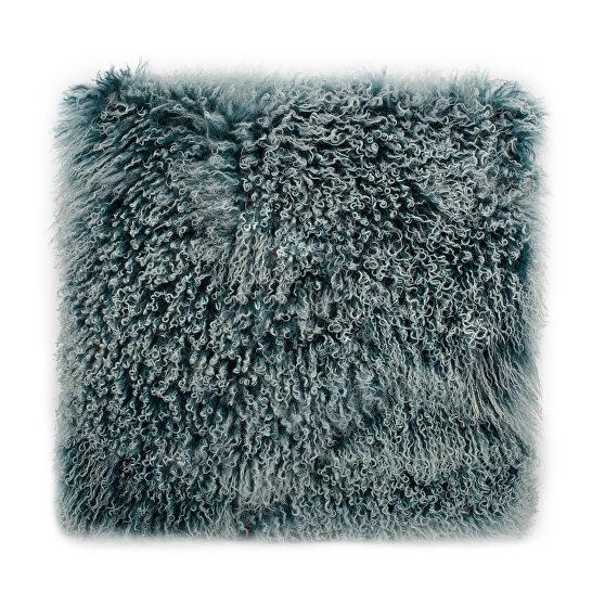 Contemporary fur pillow large teal snow