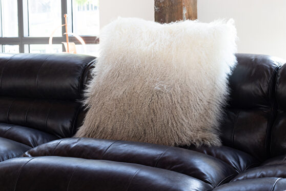 Contemporary fur pillow light gray spectrum