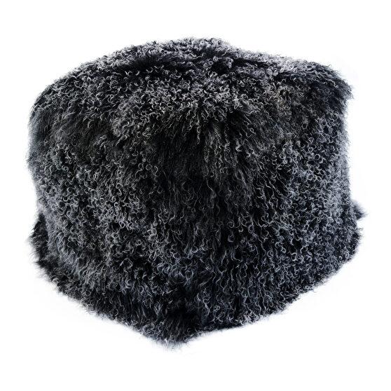 Contemporary fur pouf black snow