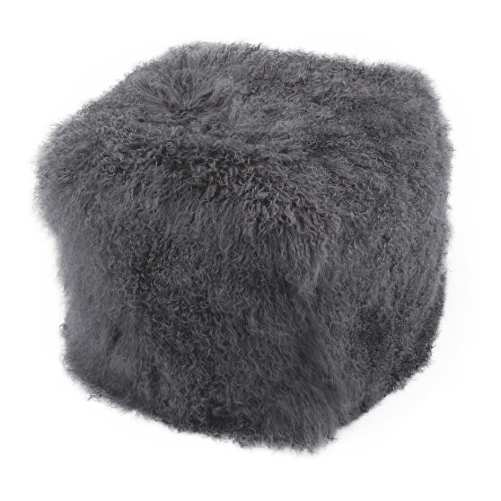 Contemporary fur pouf smoke