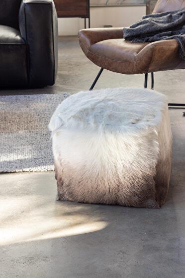 Contemporary fur pouf cappuccino ombre