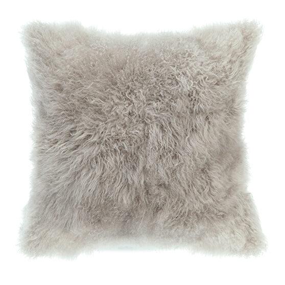 Contemporary fur pillow light gray