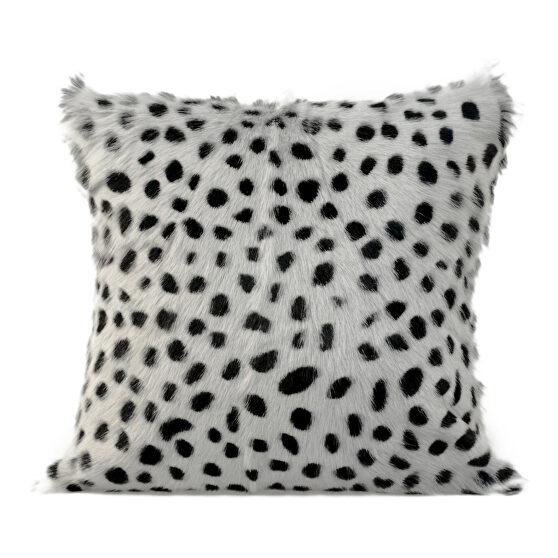 Contemporary goat fur pillow light gray