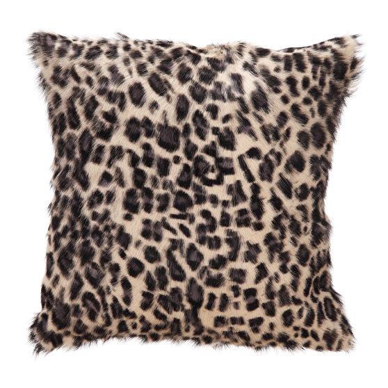 Contemporary goat fur pillow blue leopard