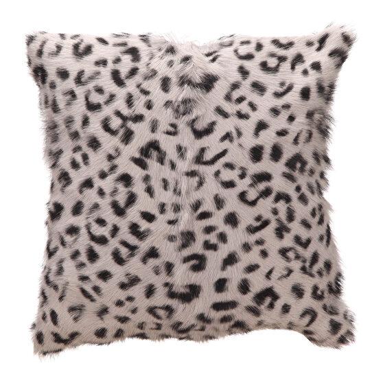Contemporary goat fur pillow gray leopard