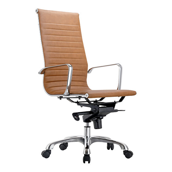 Contemporary swivel office chair high back tan