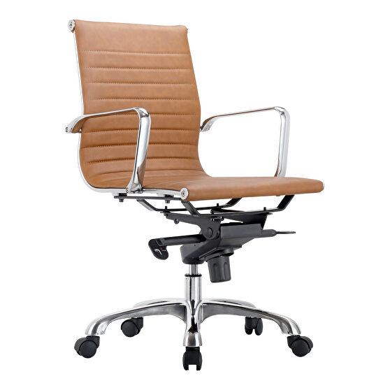Contemporary swivel office chair low back tan