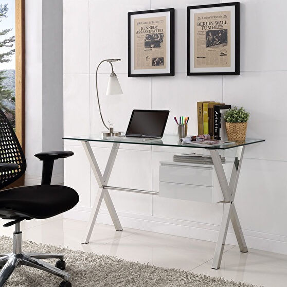 Glass top / silver chrome crossed legs work / office desk